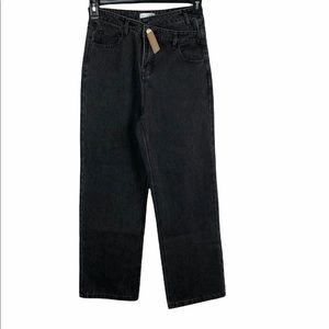 NEW Vestique Size S Keeping Things Straight Pants Factory Faded Black Jeans